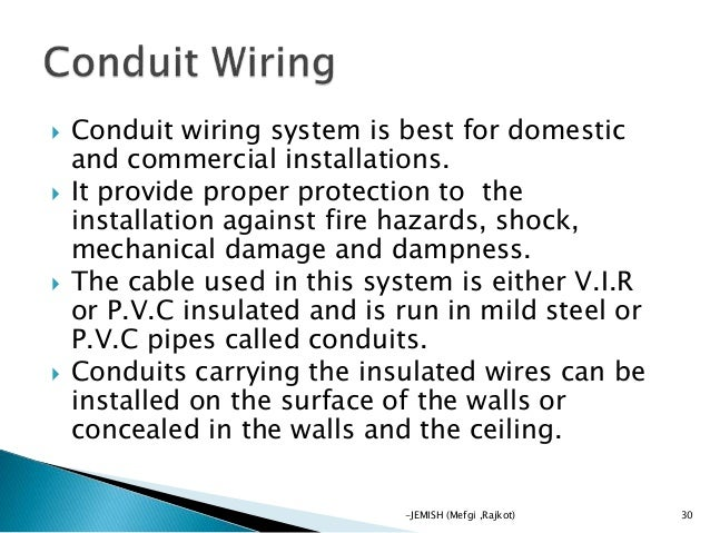 electrical wiring by jemish rh slideshare net conduit wiring system diagram define conduit wiring system